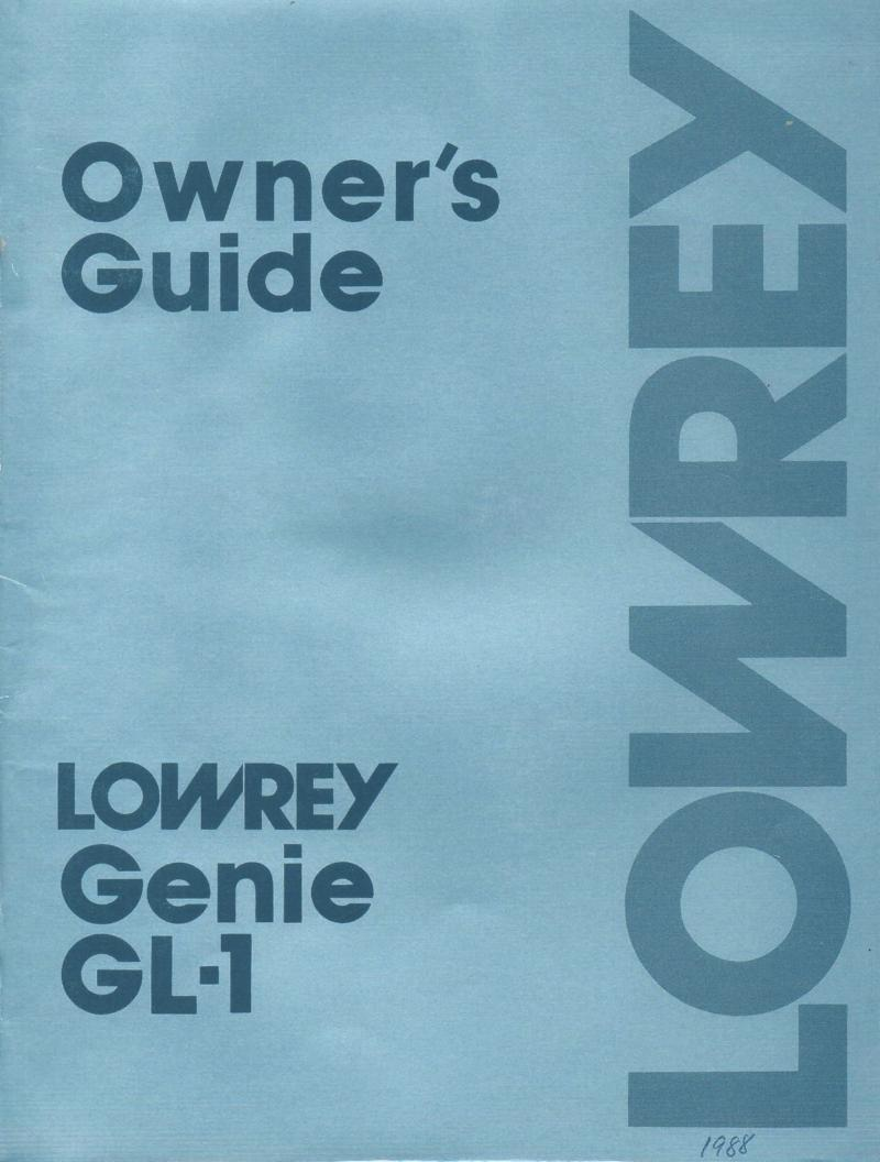 Genie GL-1 Organ Owners Manual