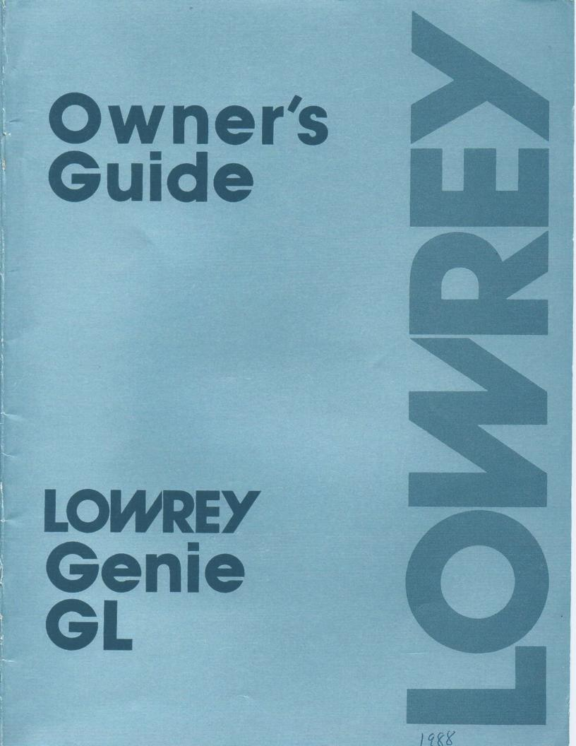 Genie GL Organ Owners Manual