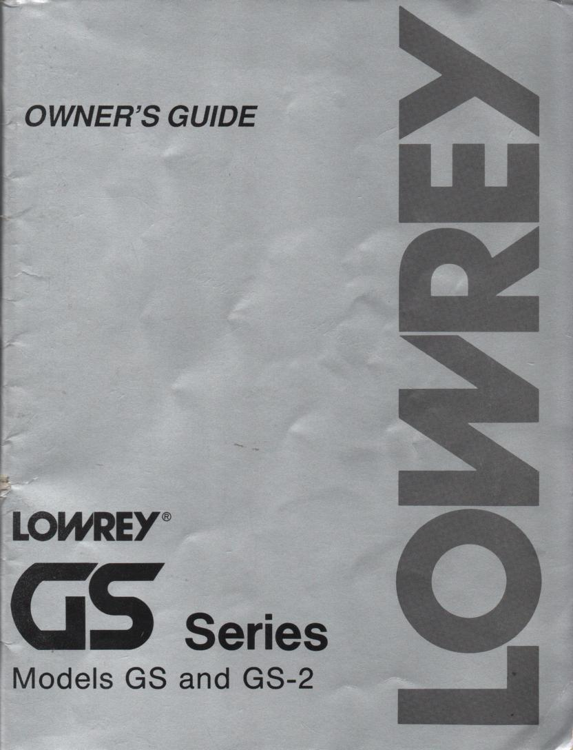 GS GS-2 Organ Owners Operating Instruction Manual