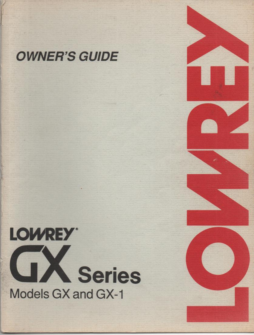 GX G-400 GX-1 G-500 Organ Owners Operating Instruction Manual