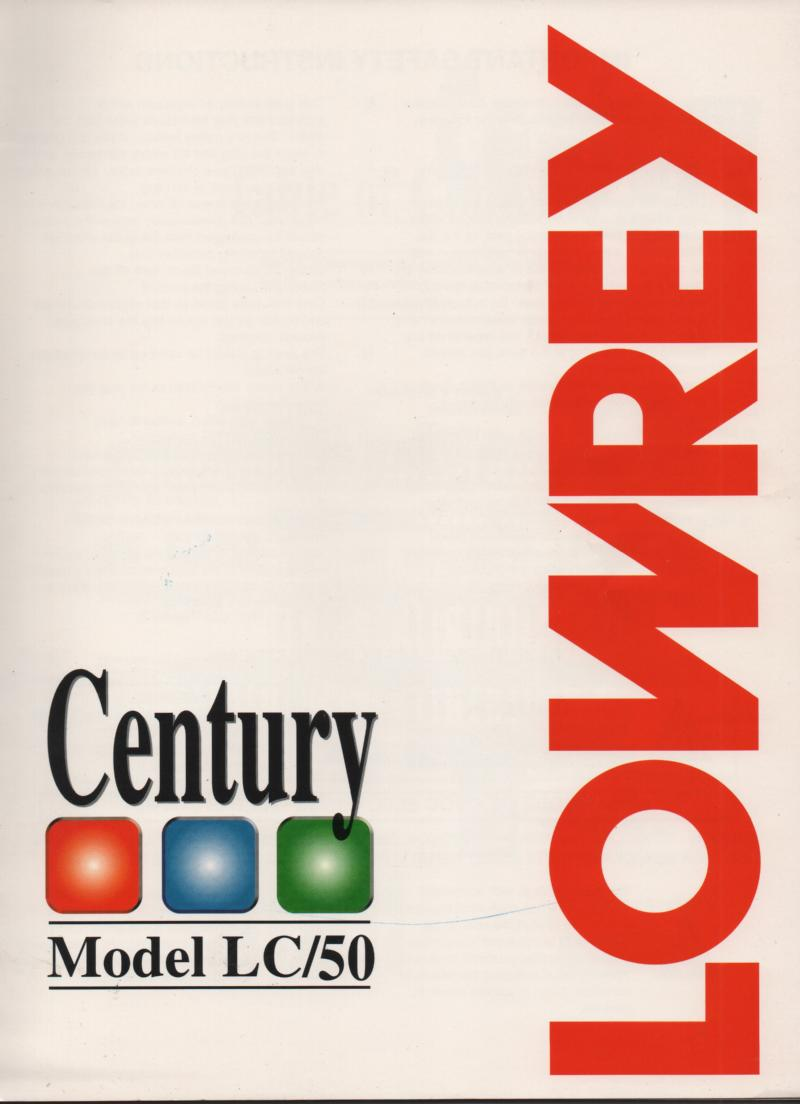 Century LC50 Organ Owners Manual