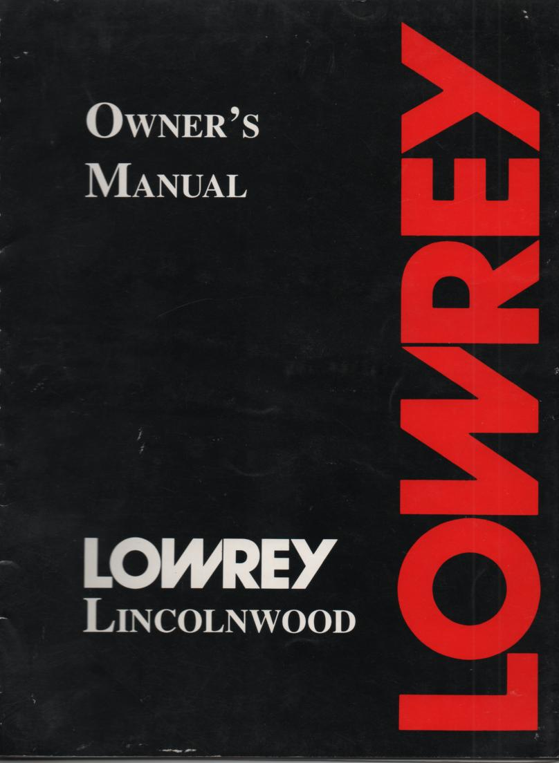 Lincolnwood Organ Owners Operating Instruction Manual