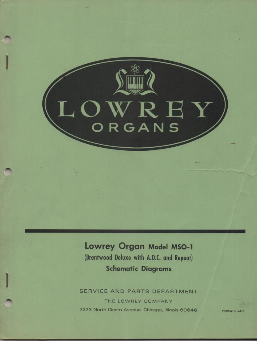 MSO-1 Brentwood Deluxe Organ Service Manual