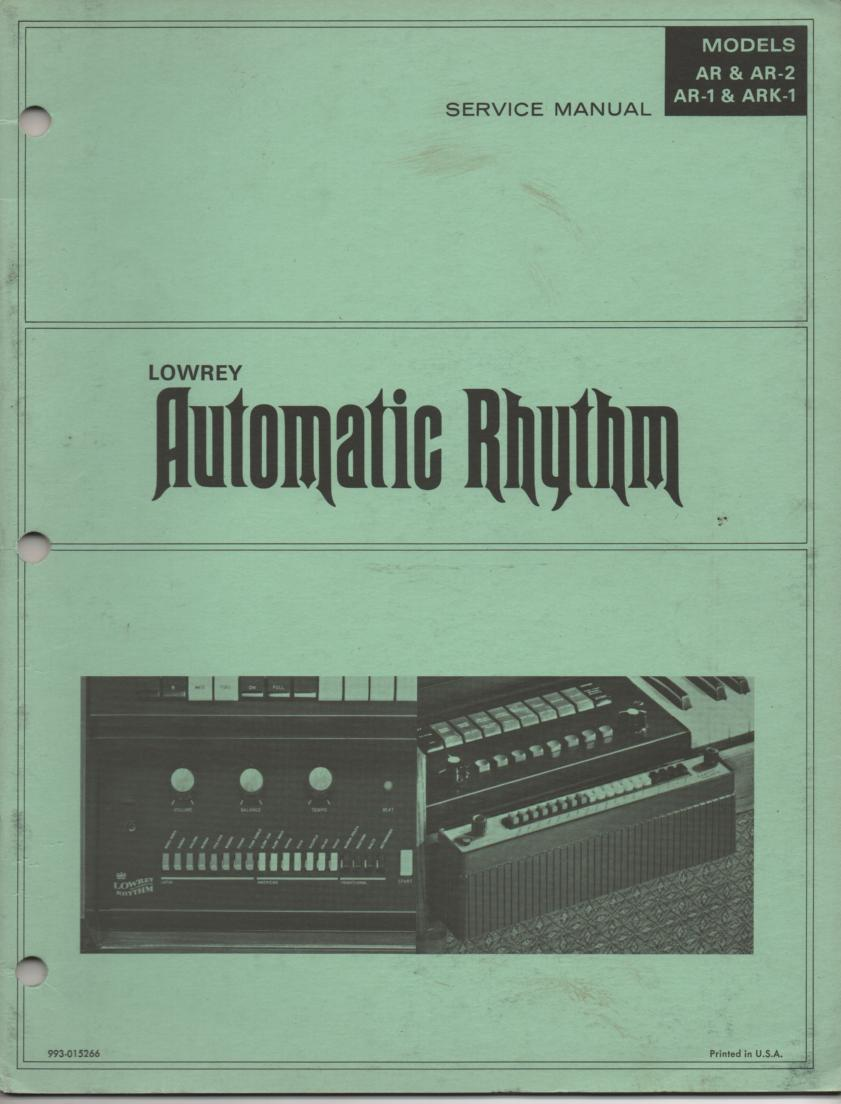 AR AR-1 AR-2 ARK-1 Automatic Rythm Unit Service Manual