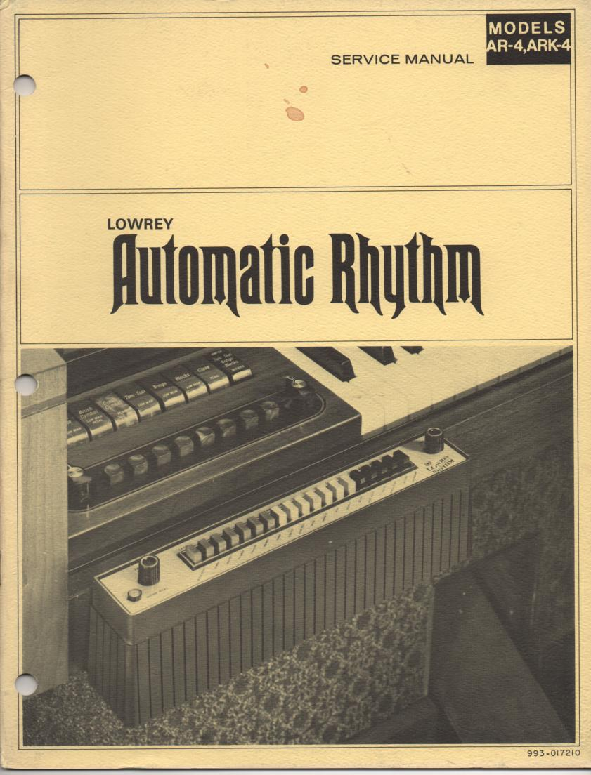 AR4 AR-4 Automatic Rythm Unit Service Manual