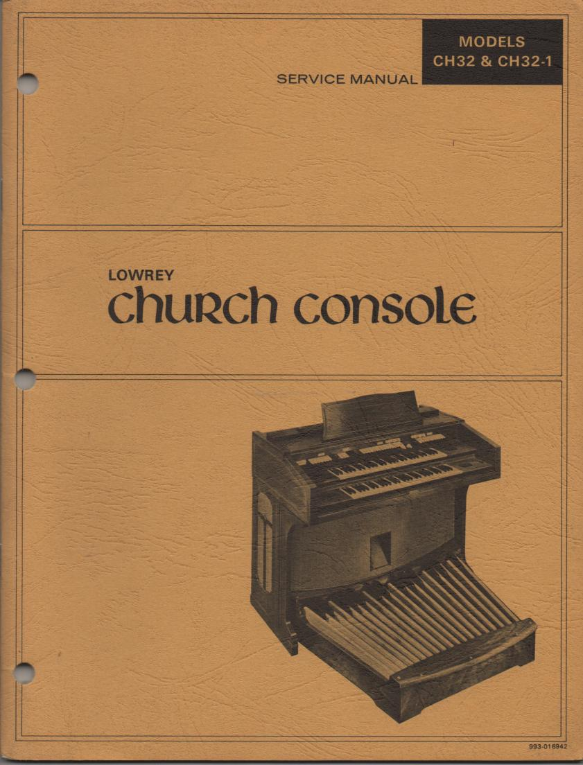 CH32 CH32-1 Church Console Organ Service Manual