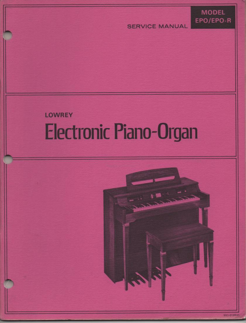 EPO EPO-R Electronic Piano Organ Service Manual