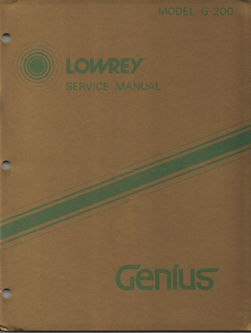 G200 G-200 Genius Organ Service Manual