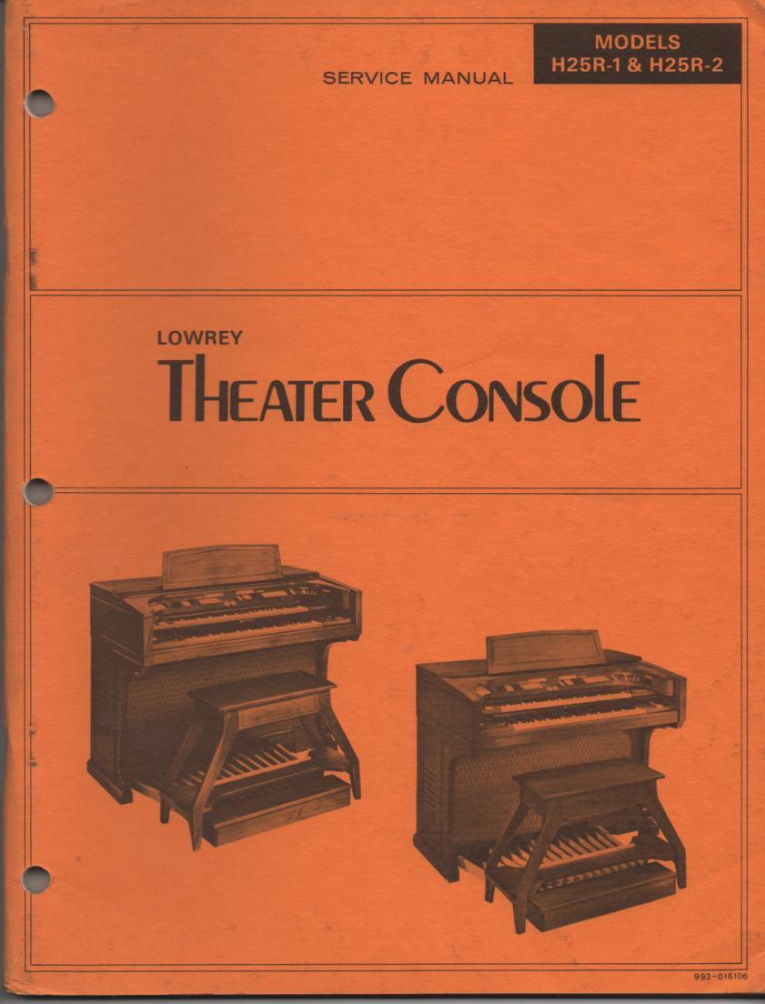 H25R-1 H25R-2 Symphonic Theatre Console Organ Schematic Service Manual
