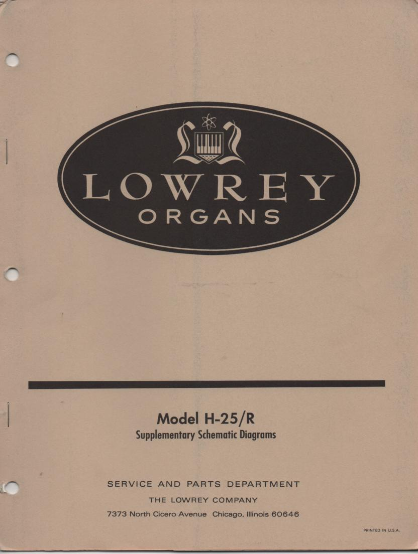H-R Theatre Spinet Organ Schematic Service Manual
