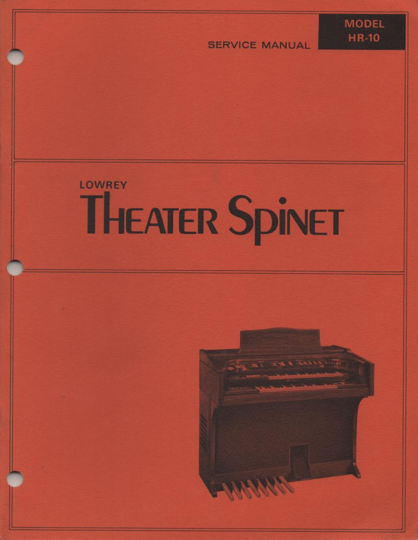 HR10 HR-10 Theater Spinet Organ Schematic Service Manual