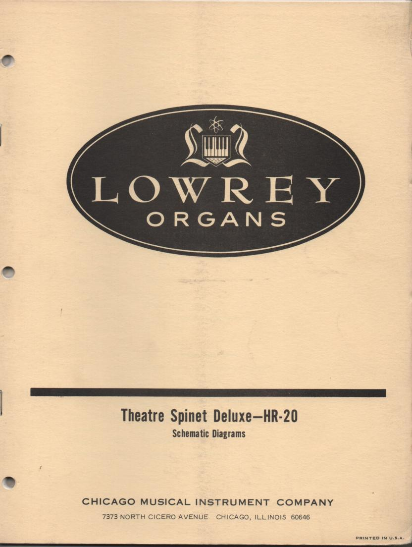 HR20 HR-20 Theatre Spinet Deluxe Organ Schematic Service Manual