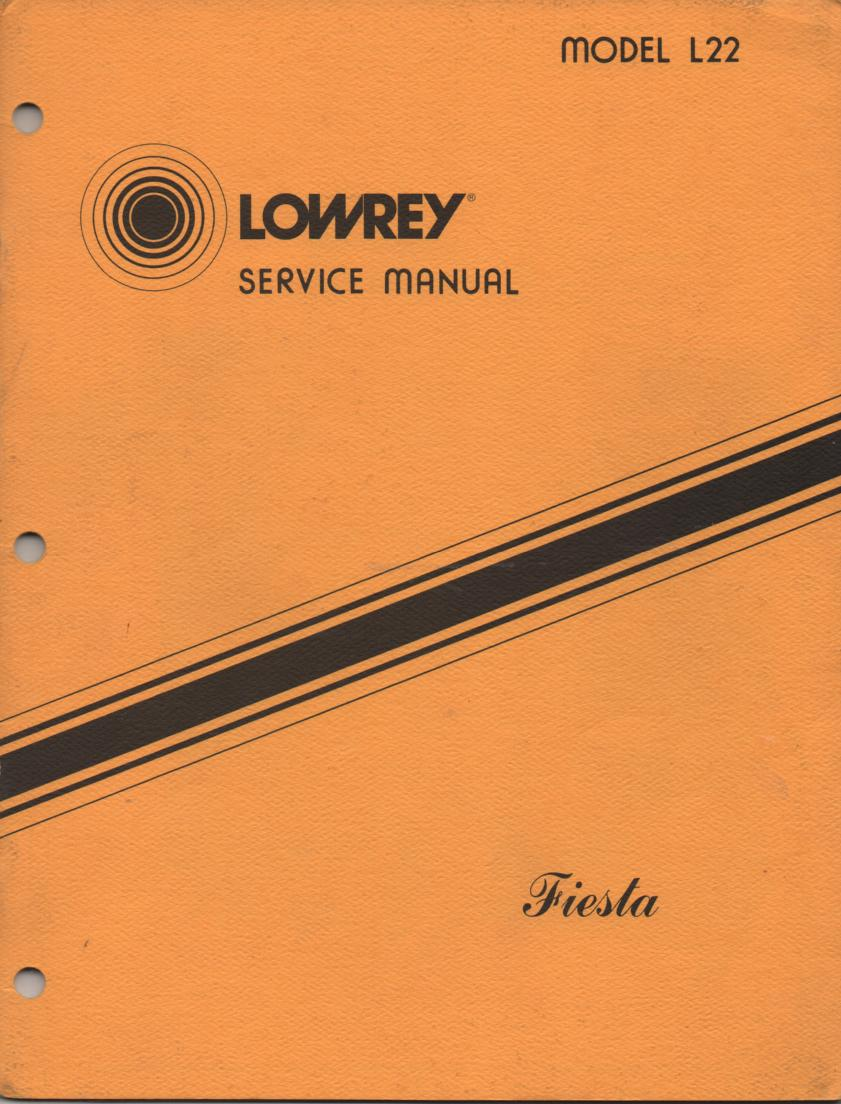 L22 Fiesta Organ Service Manual