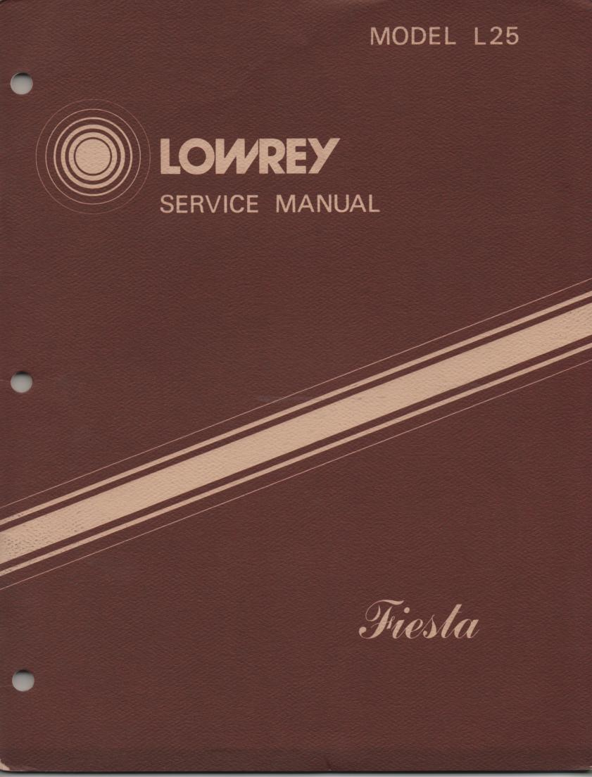 L25 Fiesta Organ Service Manual