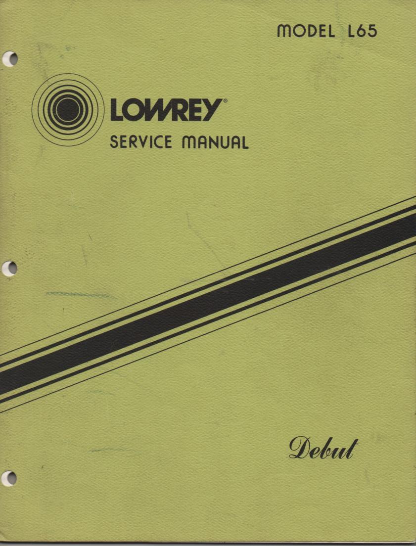 L65 Debut Organ Service Manual