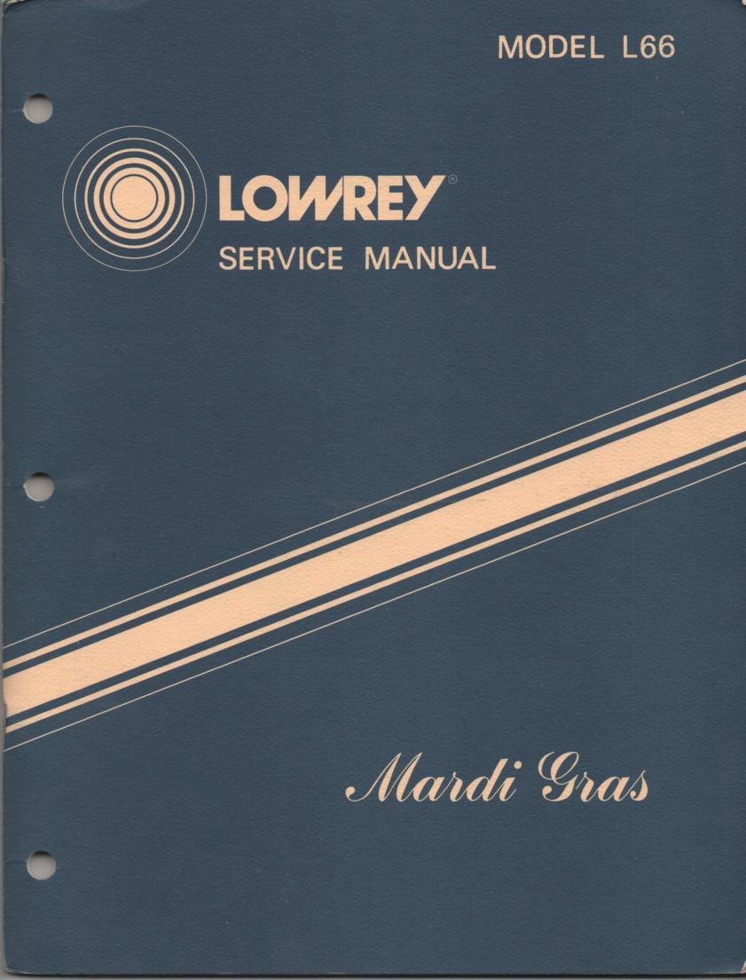 L66 Mardi Gras Organ Service Manual