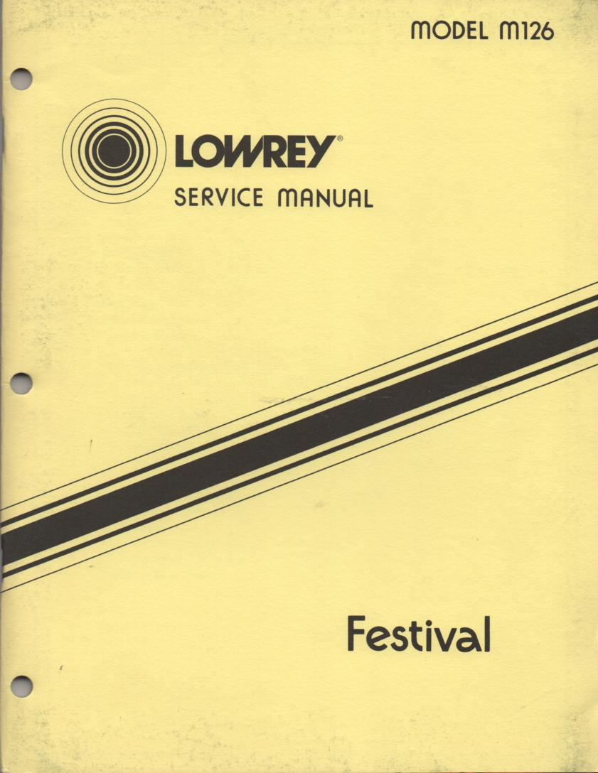 M126 Festival Organ Service Manual