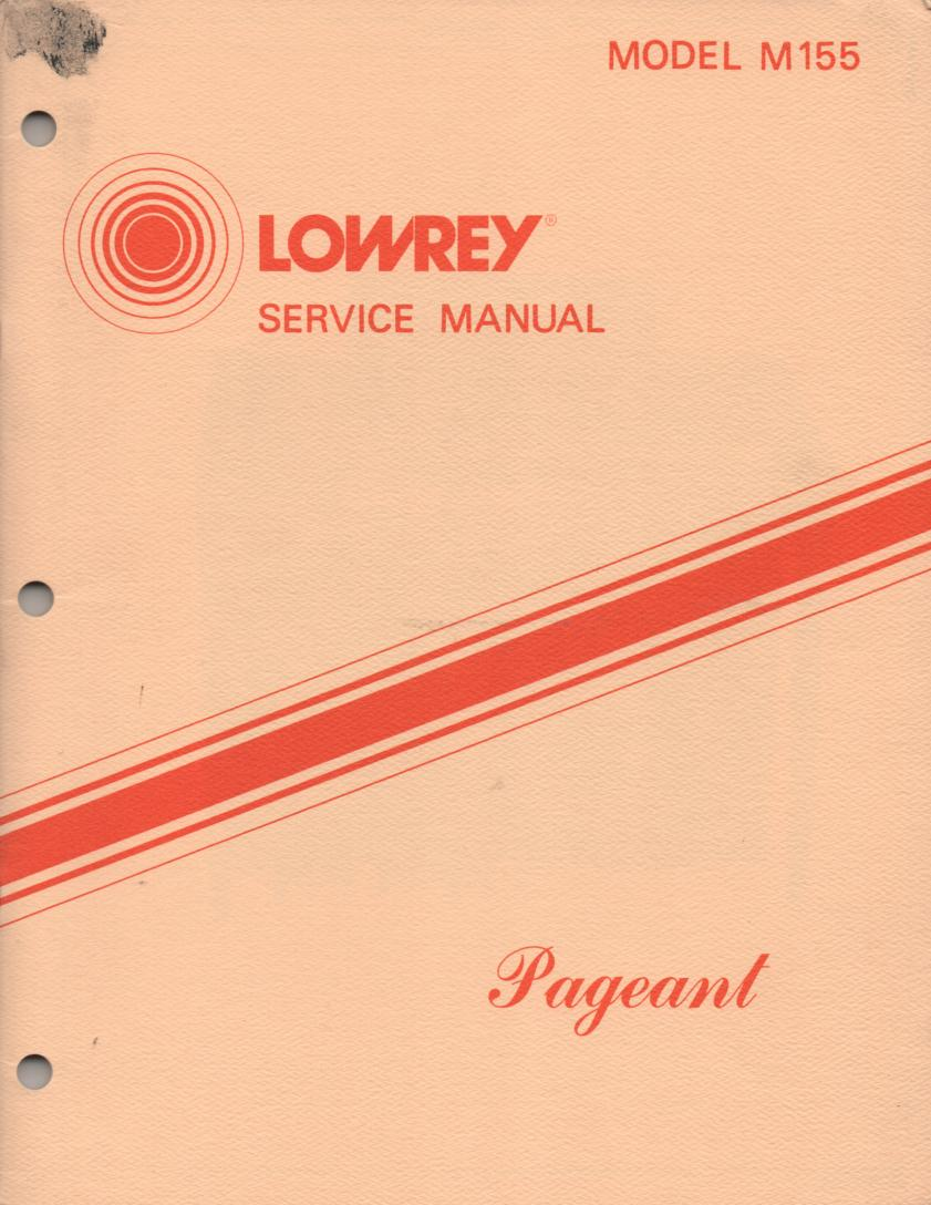 M155 Pageant Organ Service Manual