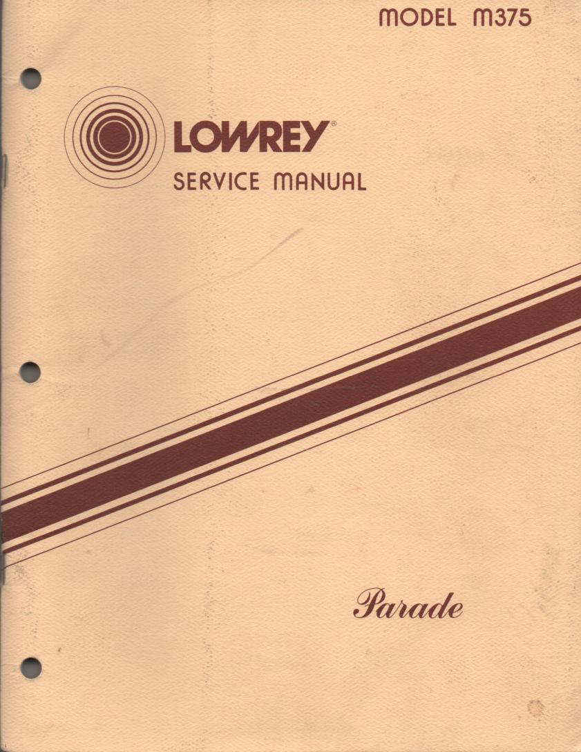 M375 Parade Organ Service Manual