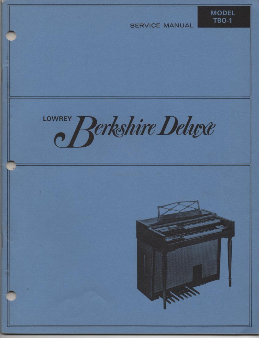 TBO-1 Berkshire Deluxe Organ Service Manual