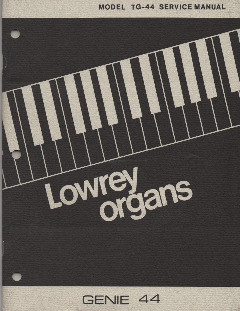 TG44 Genie 44 Organ Service Manual