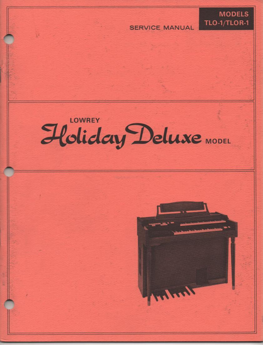 TLO-1 TLOR-1 Holiday Deluxe Organ Service Manual