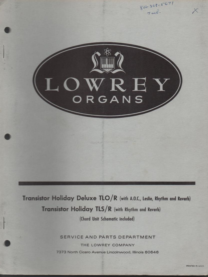 TLO-R TLS-R Organ Schematic Service Manual
