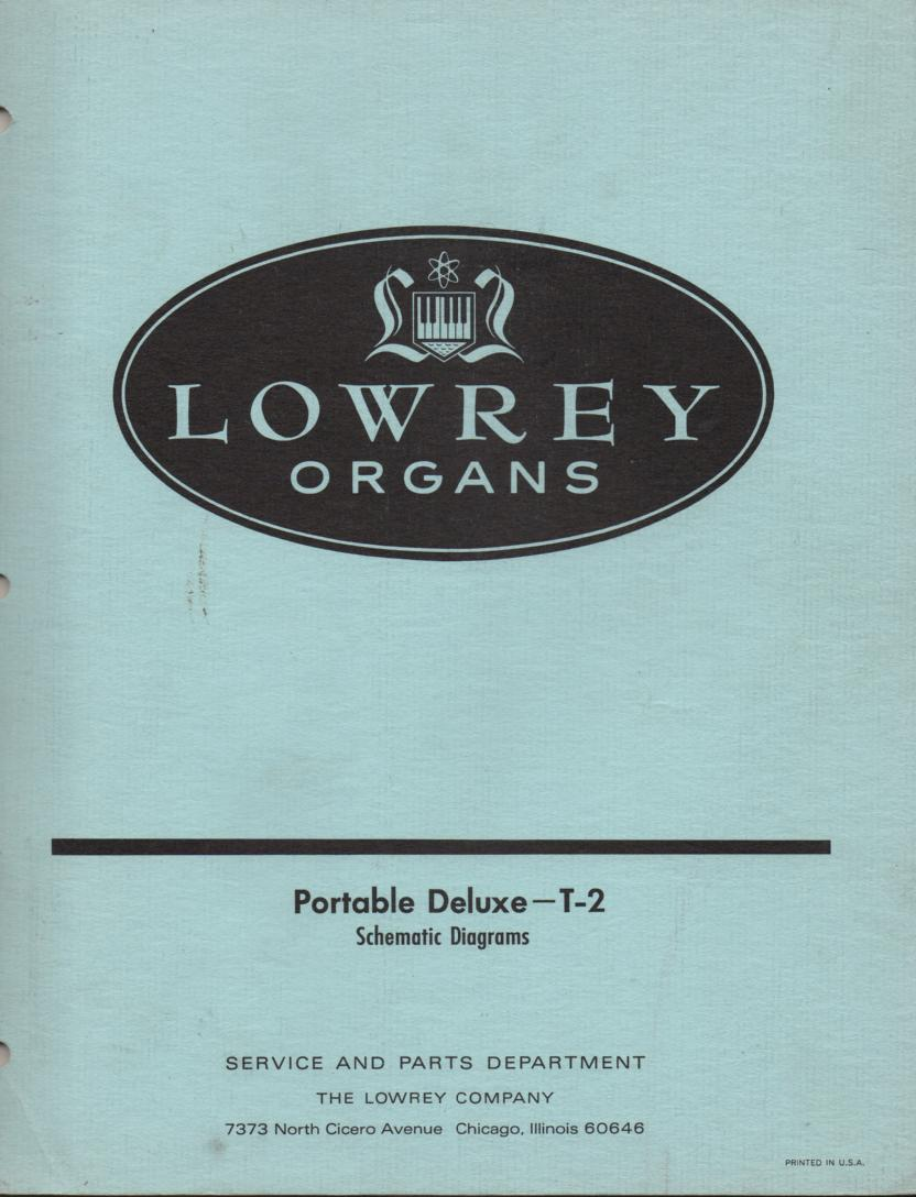 T-2 Portable Deluxe Organ Service Manual