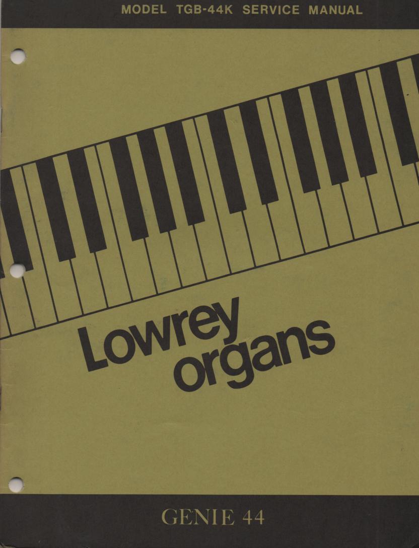 TGS44K TGB-44K Genie 44 Organ Service Manual
