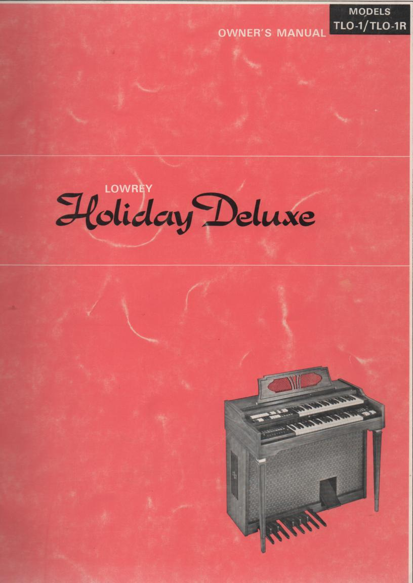 Holiday Deluxe Organ Owners Operating Instruction Manual