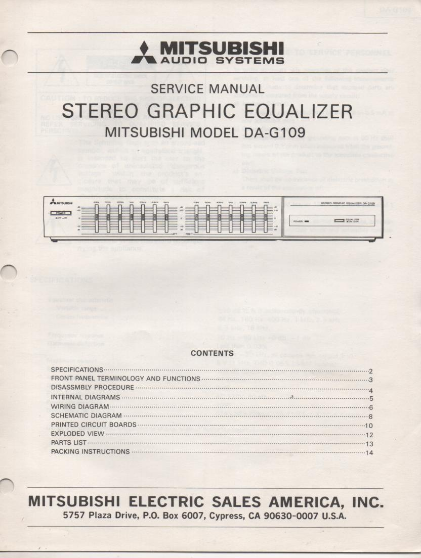 DA-G109 Graphic Equalizer Service Manual