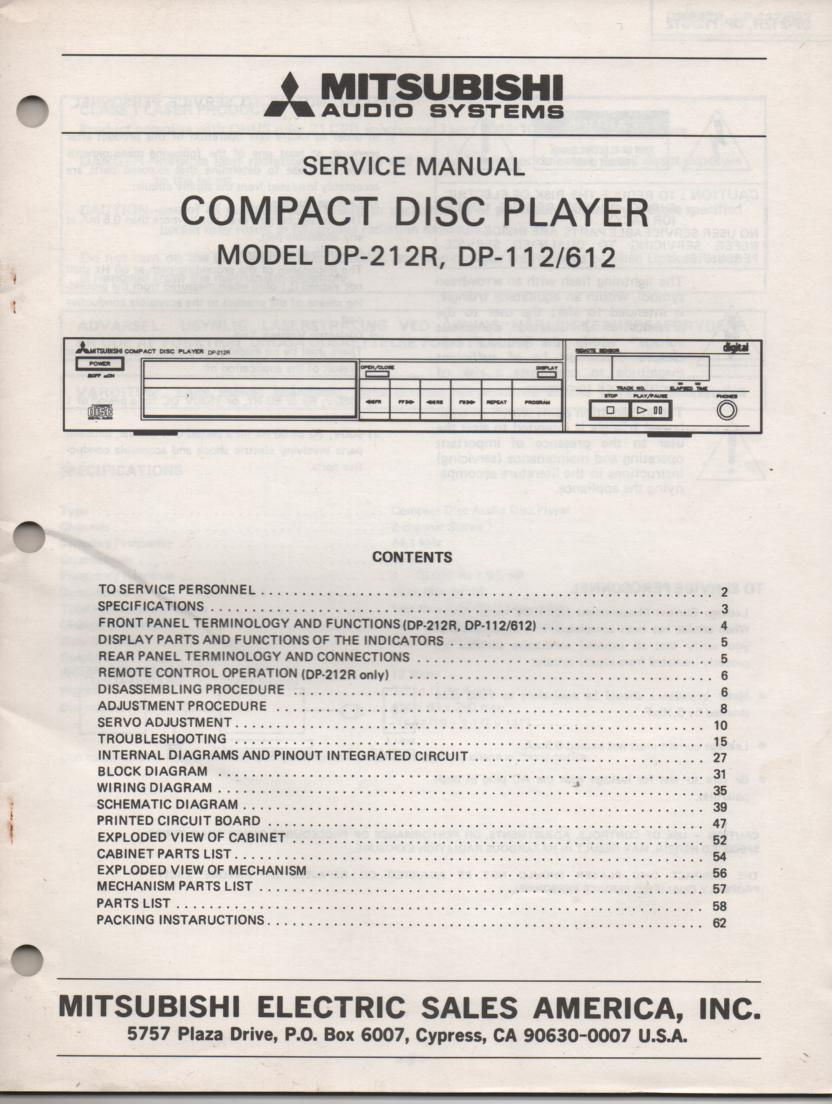 DP-112 DP-212R DP-612 CD Player Service Manual