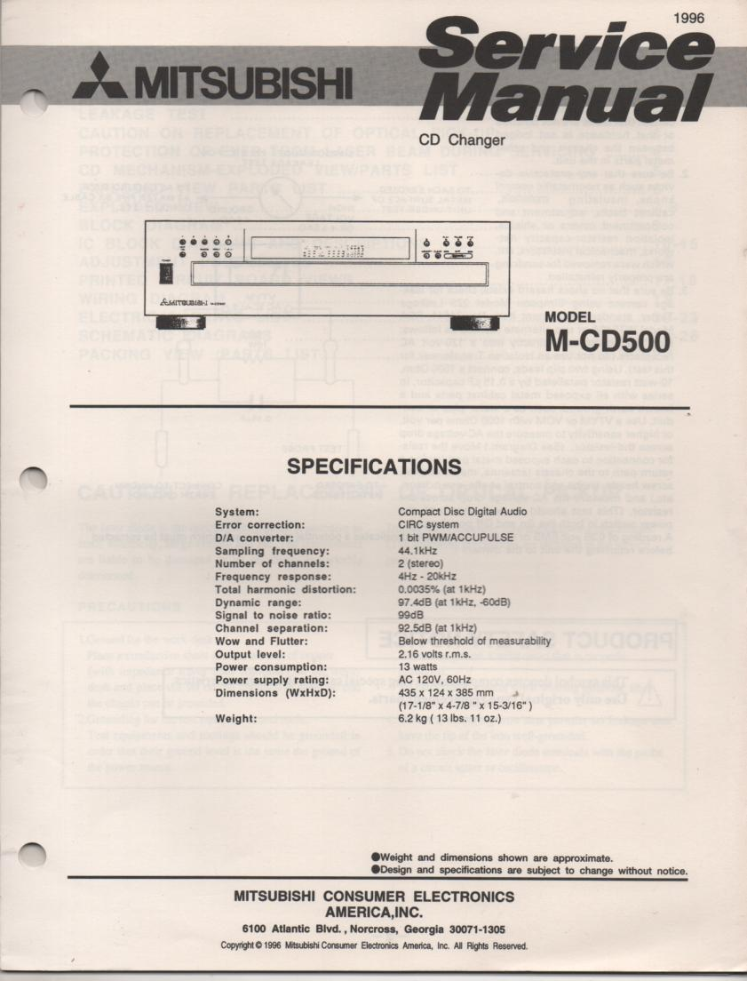 M-CD500 CD Player Service Manual