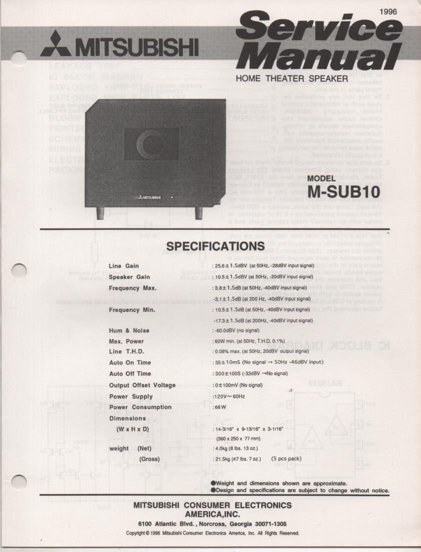 M-SUB10 SUB Woofer Service Manual