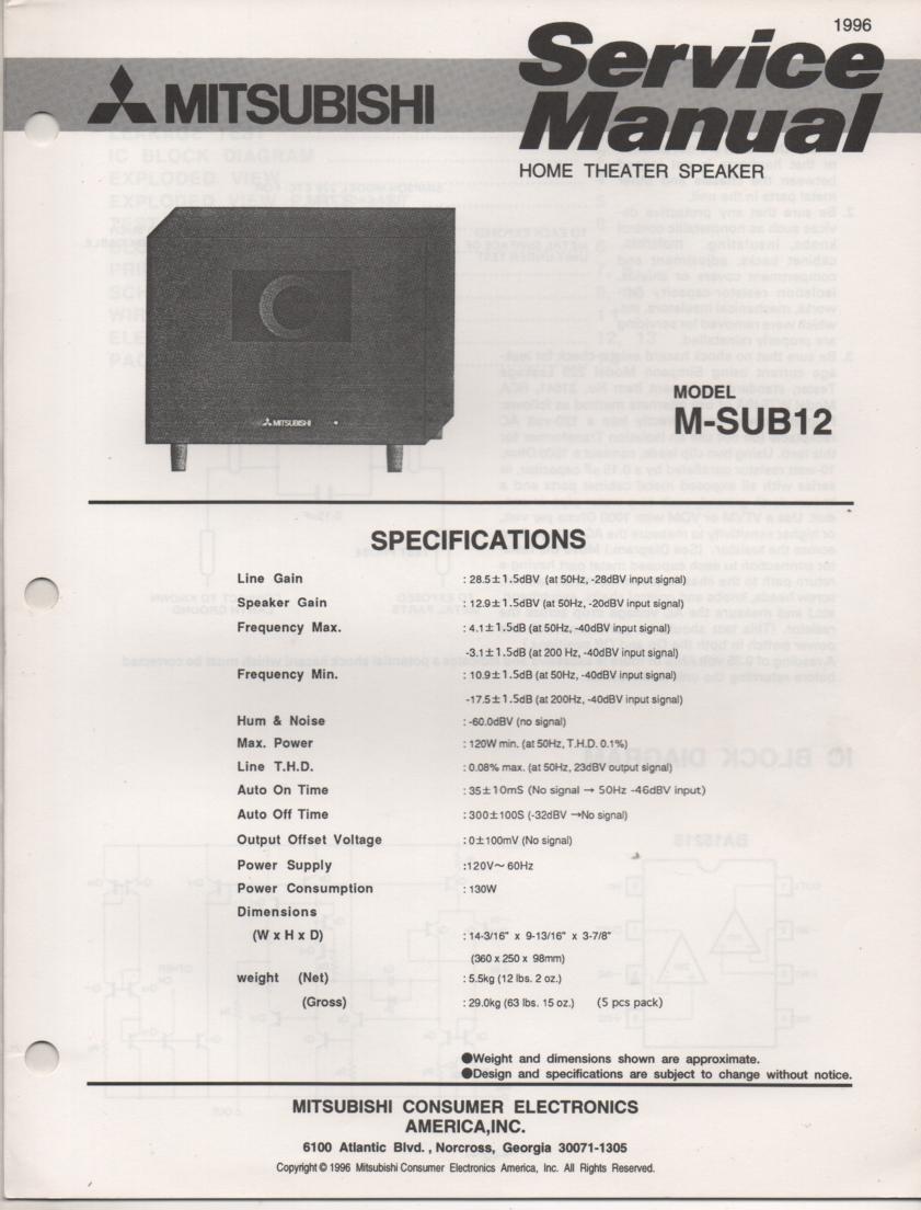 M-SUB12 SUB Woofer Service Manual