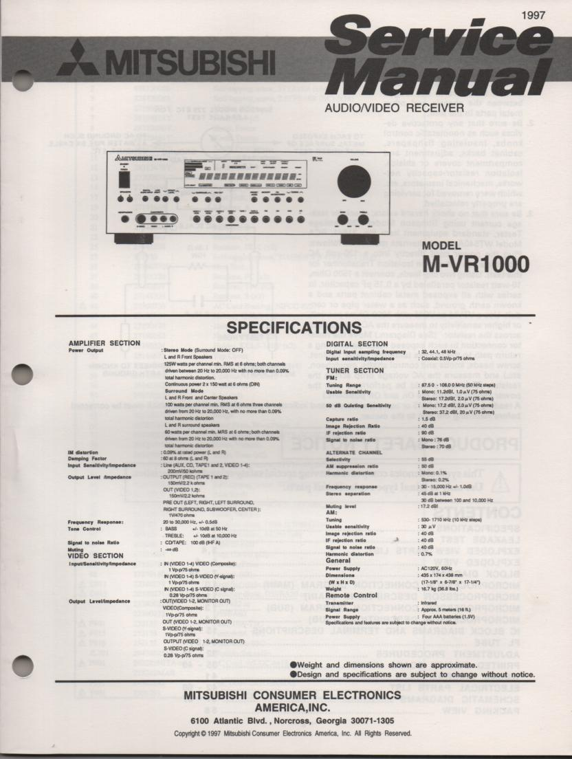 M-VR1000 AV Receiver Service Manual.   comes with large foldout schematics...