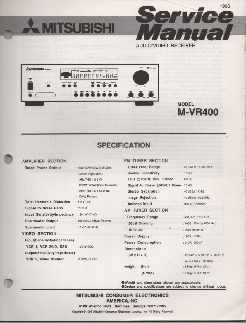 M-VR400 AV Receiver Service Manual.  comes with large foldouts