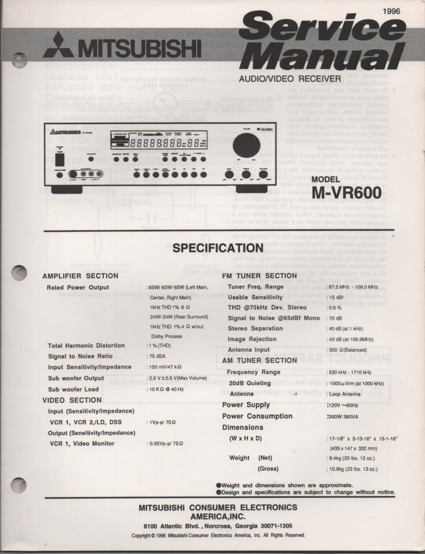 M-VR600 AV Receiver Service Manual.  comes with large foldouts