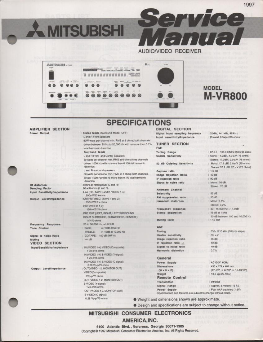 M-VR800 AV Receiver Service Manual. comes with large foldouts