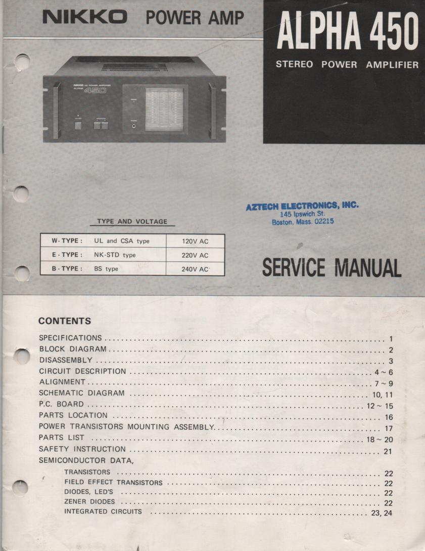 Alpha 450 Power Amplifier Service Manual