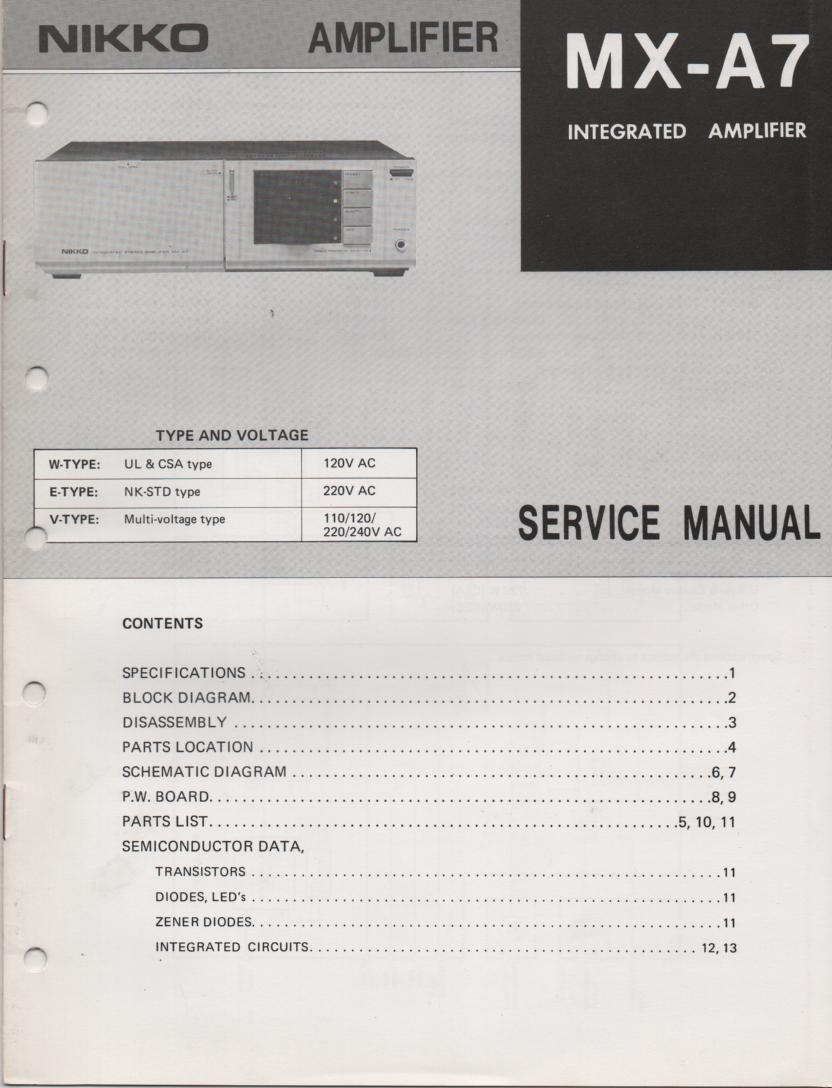 MX-A7 Amplifier Service Manual