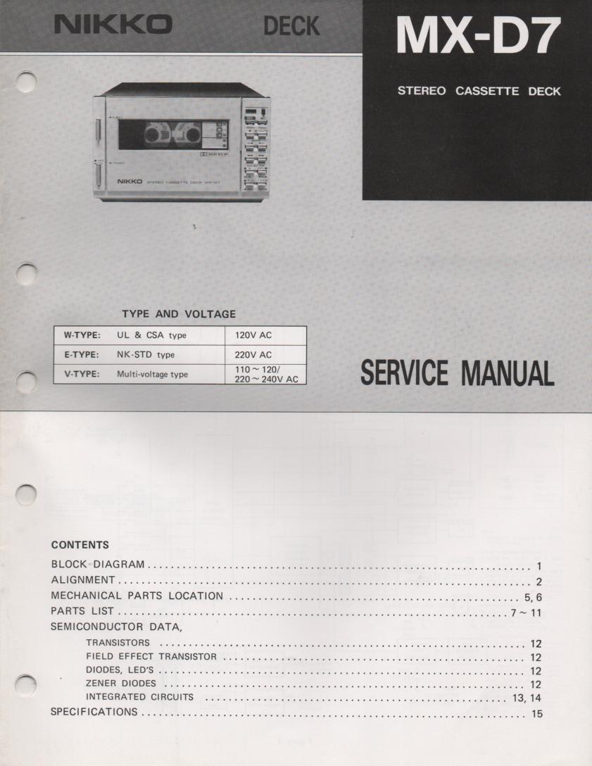 MX-D7 Cassette Deck Service Manual