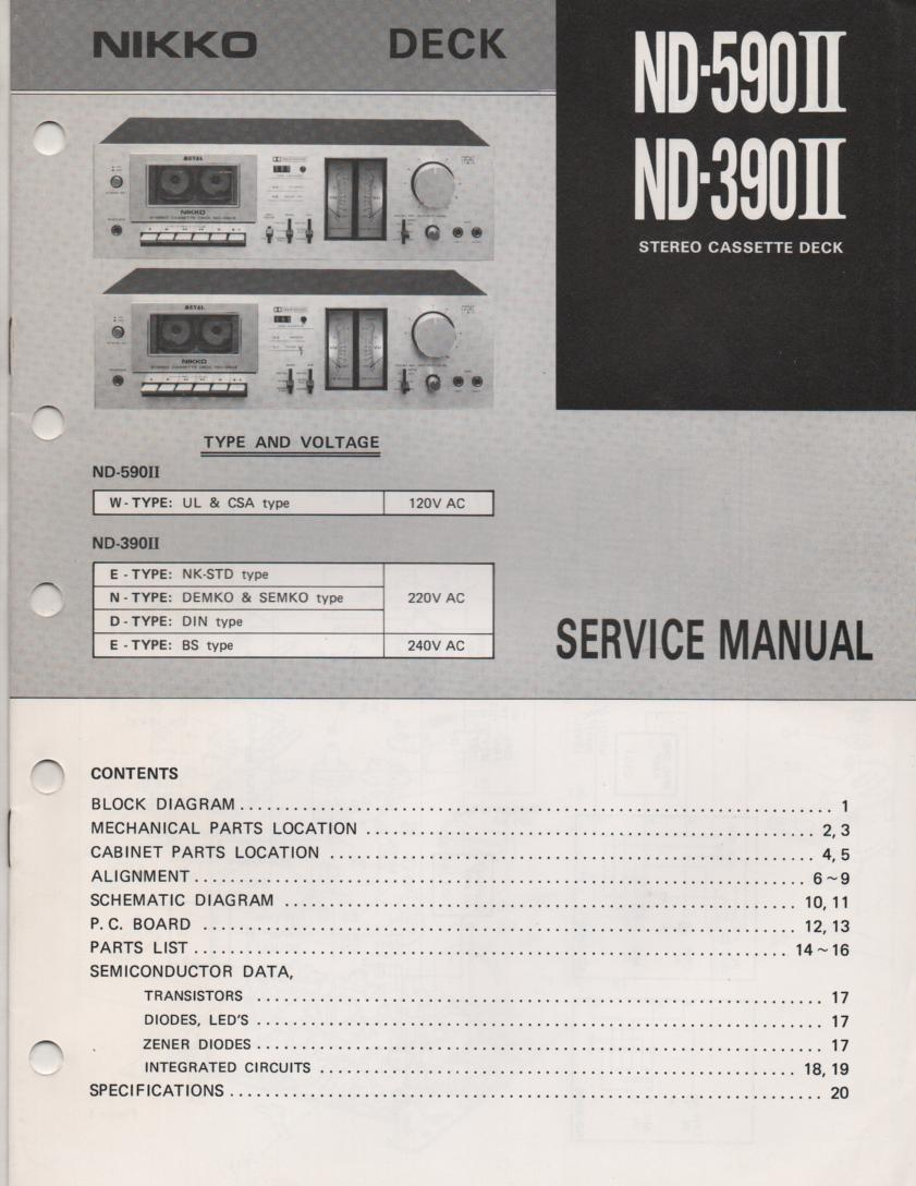 ND-390 ND-590 Cassette Deck Service Manual
