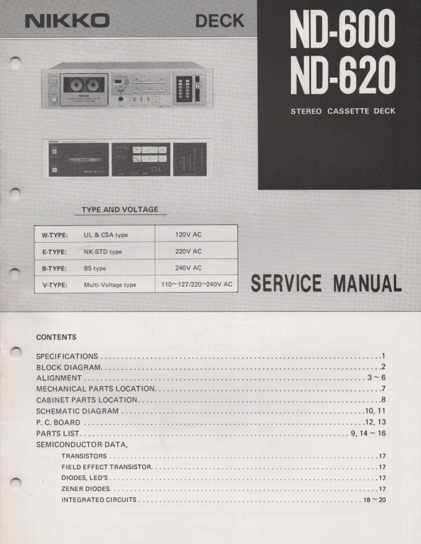 ND-600 ND-620 Cassette Deck Service Manual