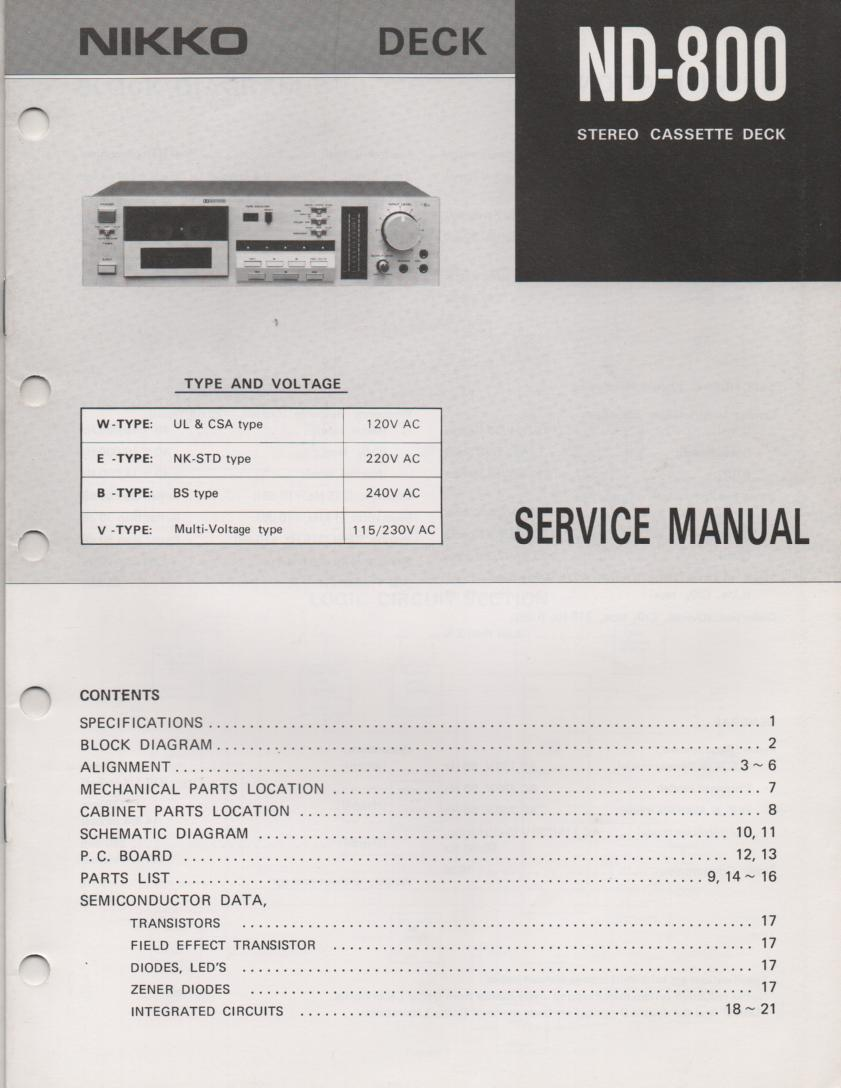 ND-800 Cassette Deck Service Manual