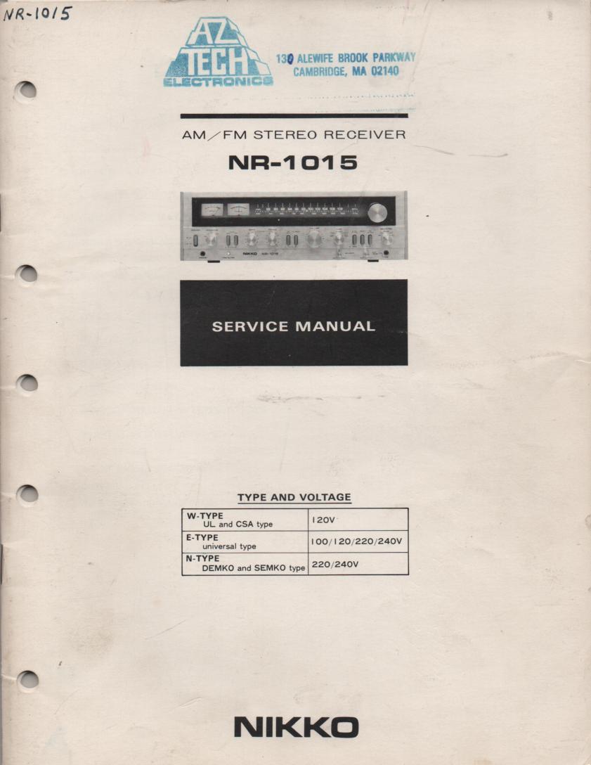 NR-1015 Receiver Service Manual