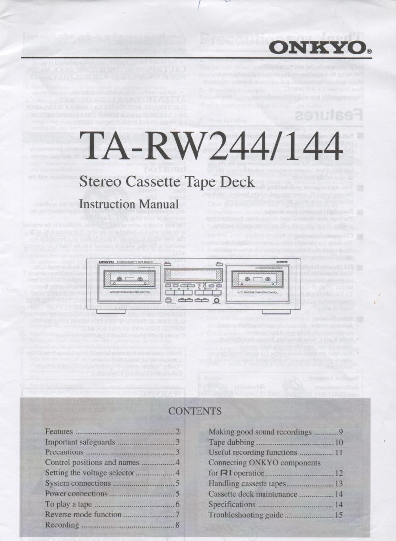 TA-RW144 TA-RW244 Cassette Deck Owners Instruction Manual