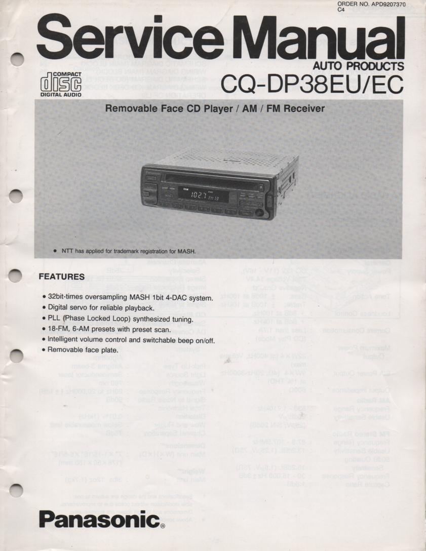 CQ-DP38EU CQ-DP38EC Removable Face Automotive CD Player Service Manual