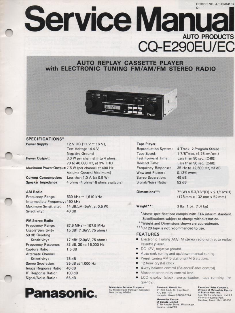 CQ-E290EU CQ-E290EC Auto Cassette Service Manual