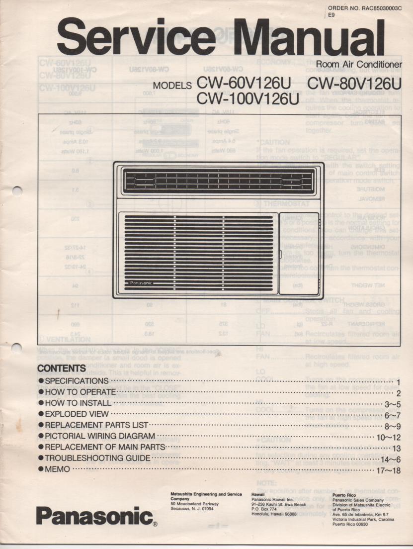 CW-100V126U CW-60V126U Air Conditioner Service Manual